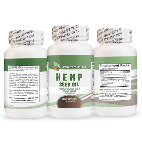 Hemp Seed Oil 120 ct 3 sides