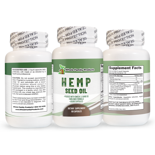 Hemp Seed Oil 60 ct 3 sides